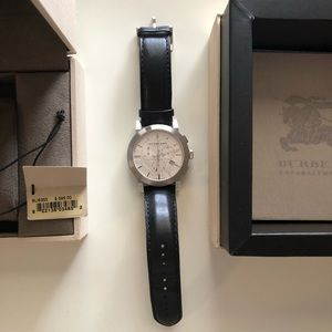 Burberry black leather band silver face watch